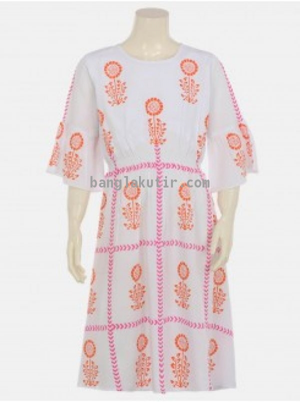 White Printed Linen Frock(2)