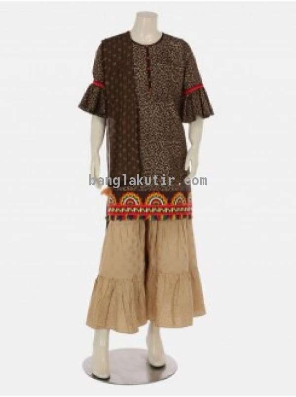 Dark Brown Printed and Embroidered Linen Shalwar K