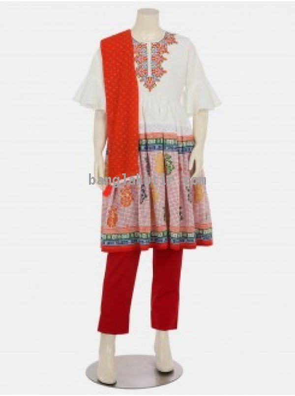 White Printed and Embroidered Linen Shalwar Kameez