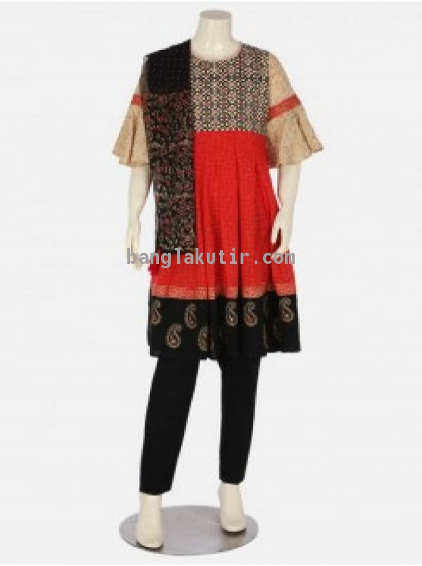 Red Printed Linen Shalwar Kameez Set