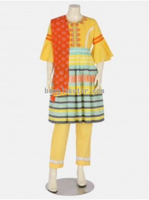 Yellow Printed and Embroidered Linen Shalwar Kamee